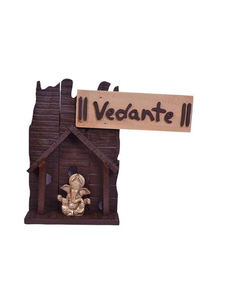 Karigaari India Mdf Wood Vedante Name Plate