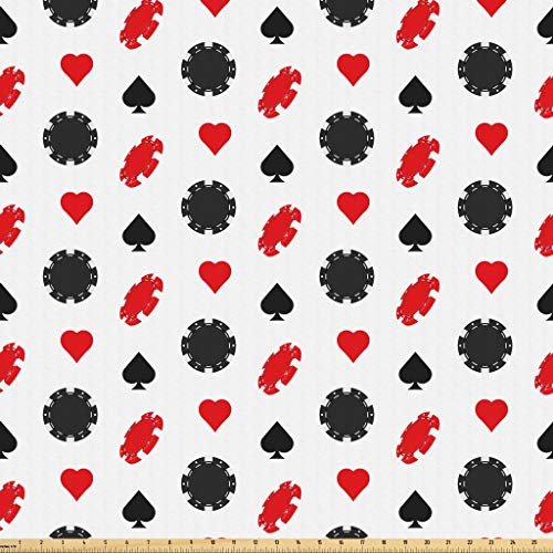 Lunarable Casino Fabric by The Yard, Casino Poker Theme Pattern with Card Suits and Chips Fortune Wealth Luck Win, Microfiber Fabric for Arts and Crafts Textiles & Decor, 2 Yards, Red Black White
