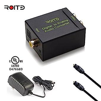 roitb Digital Optical Coax To Analog Rca FCC Rosh Conversor de audio RCA Salida de l