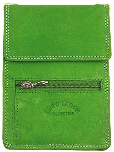 NB24 Versand Brustbeutel Brusttasche (AL 06), Echtes Leder, Größe ca. 10,5 x 15 cm, grün