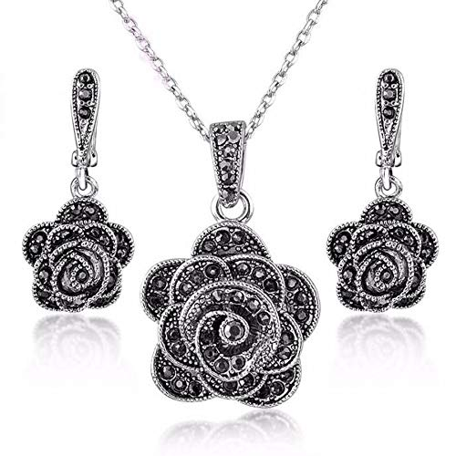 Shefashion Rhodium Plated Vintage Silver Rose Flower Jewelry Sets Black Marcasites Studs Earrings Pendent Necklace for Women Girls