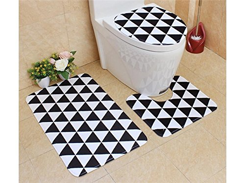 Hezon 3 Packs Bathroom Set Non-Slip Retro Style Pedestal Rug+Lid Toilet Cover+Bath Mat (Triangle) EASY TO USE by Hezon