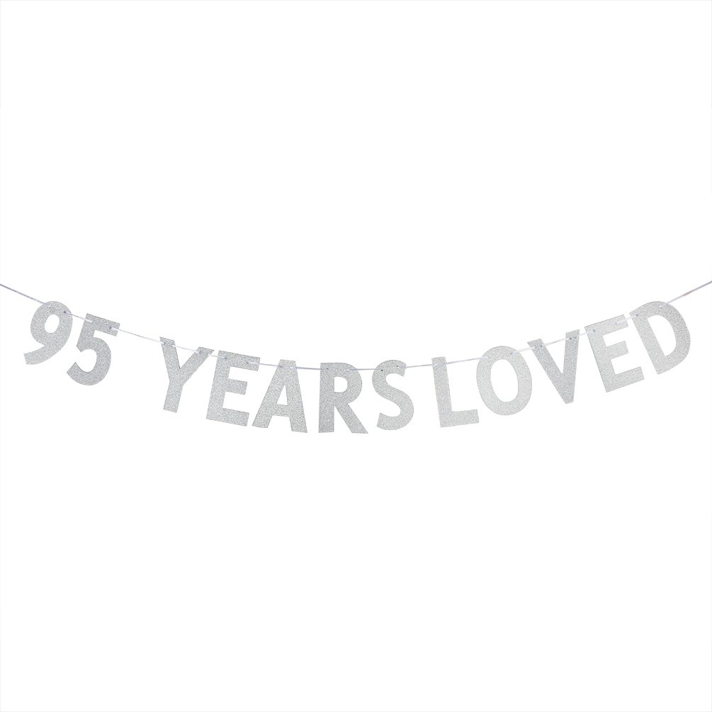Silver 95 YEARS LOVED Banner 95th Birthday//Wedding Anniversary Party Decorations Photo Props