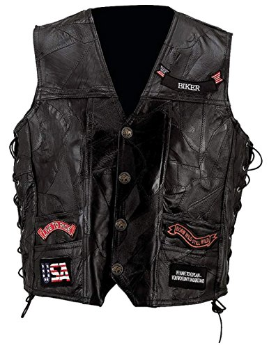 (Diamond Plate Mens Plus Leather Embroidered Patches Outerwear Vest Black 3X)