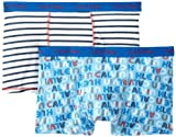 Calvin Klein Big Boys' Assorted 2 Pack Trunks, Stripe/Logo, Large/12-14