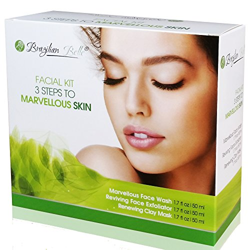 Brazilian Belle 3 in 1 Skin Renewing System: The Anti-Aging, Acne, Blackhead, and Wrinkle Treatment Everyone's Talking About. Includes:  Bentonite Clay Mud Mask, Facial Exfoliator, & Face Wash (9oz)