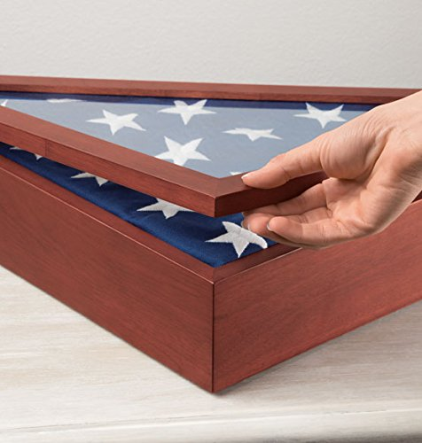 """Flag Display Case Veterans with Personalized Brass Plaque - Fits a Flag Folded to 15"""" X 15"""" X 21"""""""