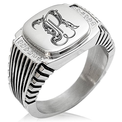 (Two-Tone Stainless Steel Letter R Alphabet Initial Royal Monogram Engraved Clear Cubic Zirconia Ribbed Needle Stripe Pattern Biker Style Polished Ring, Size 10)