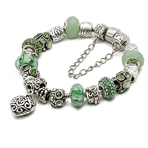 "RUBYCA Silver Tone European Charm Bracelet 7.9"" Green Murano Glass Beads DIY Jewelry Making Kit 25"