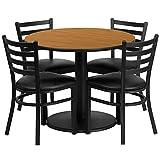 Dyersburg 5pcs Table Set Round 36'' Natural Laminate, Black Vinyl Chair