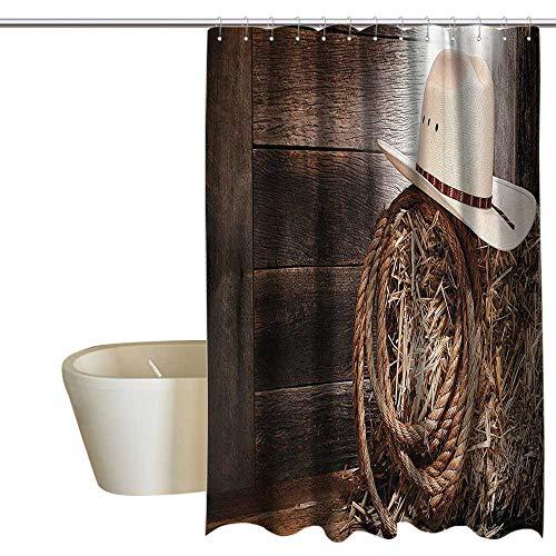 (EwaskyOnline Western Decor Kids Bathroom Shower Curtain American West Rodeo Hat with Traditional Ranching Robe On Wooden Ground Folk Art Photo Custom Shower Curtain W48 x L72 Brown Beige)