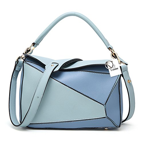 Faux Contrast Bag Bag Handbags Blue Tote Women's Boston Ipad Yoome Leather Color and Casual Shoulder Purses q5zWf