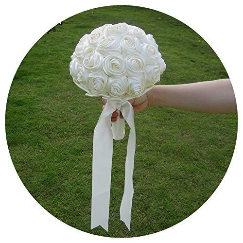 (Jifnhtrs Handmade Satin Rose Bouquet Custom Ribbon Rose Wedding Flowers Plain Bridal Bouquets DIY Artificial Flower Bouquet,Color 18)