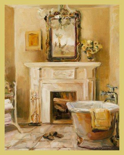 Digitaldruck / Poster Marilyn Hageman   French Bath I   90 X 112.5cm    Premiumqualität   Modern, Nostalgie, Badezimmer, Bad, Badewanne, Handtuch,  Kamin, ...