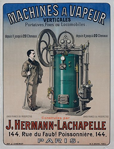 Machines a Vapeur Vintage Poster (artist: Cheret) France c. 1876 (36x54 Giclee Gallery Print, Wall Decor Travel Poster)
