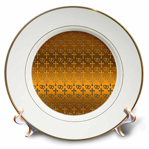 - 3dRose cp_35988_1 Small Gold Entwined Hearts and Cross on a Bright Brass Background-Porcelain Plate, 8-Inch