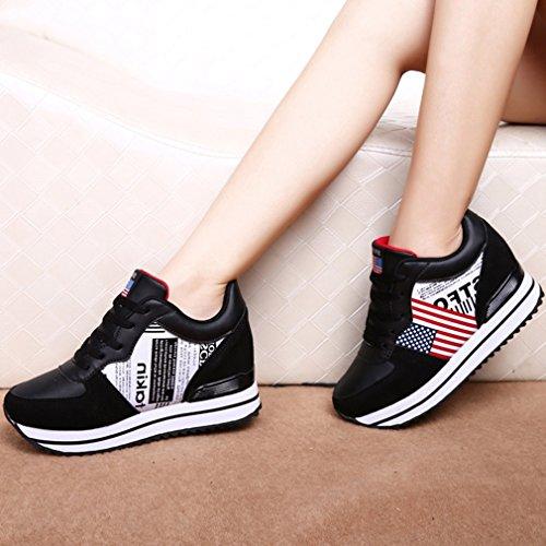 Hoxekle Womens Aumento Altezza Walking Sneakers Non Slip Lacci Tacco Nascosto Zeppa Piattaforma Scarpe Da Corsa Nere