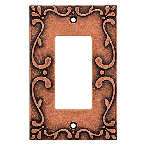 Franklin Brass W35072-CPS-C Classic Lace Single Decorator Wall Plate/Switch Plate/Cover, Sponged (Copper Single Wall)