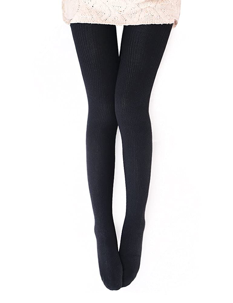 caa54a6edc561 Vero Monte 1 Pair Womens Wool Blend Ribbed Tights - Opaque Knit Tights  (Black) at Amazon Women's Clothing store: