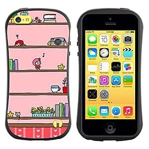 Fuerte Suave TPU GEL Caso Carcasa de Protección Funda para Apple Iphone 5C / Business Style Camera Music Kids Cartoon Drawing Pink
