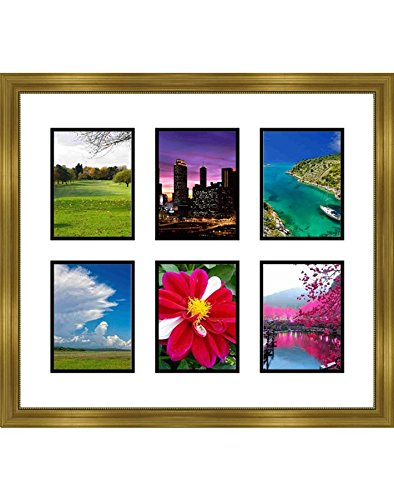 Frames by Mail multimat-58677-434b Six Square Opening Collage Frame for 4 x 6 Photo Gold