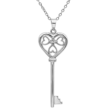 799fe074d Amazon.com: Diamond Key to Her Heart Pendant-Necklace in Sterling Silver:  Tiffany Key: Jewelry