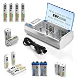 EBL Rechargeable Batteries Family Combo with Charger [4 Pack 2300mAh AA + 4 Pack 800mAh AAA + 2 Pack 5000mAh C + 2 Pack 10000mAh D + 2 Pack 280mAh 9V + Universal Charger]