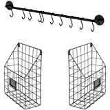 Wall File Holder Multi Purpose Wall Mount Hanging Folder Mail Organizer with Rail 2 Metal Wire Baskets Hooks Rustic Industrial Style Black