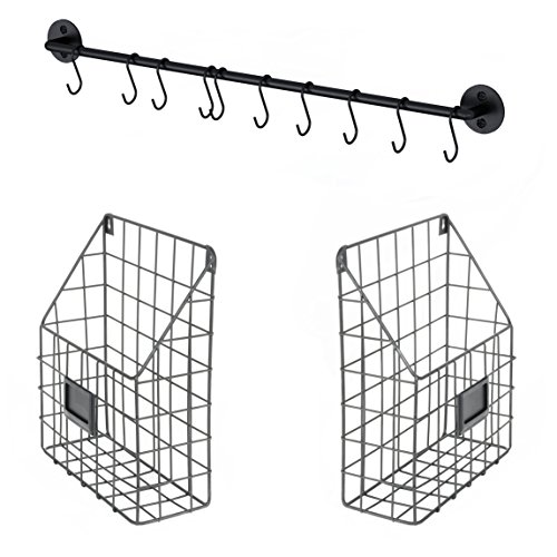 Wall File Holder Multi Purpose Wall Mount Hanging Folder Mail Organizer with Rail 2 Metal Wire Baskets Hooks Rustic Industrial Style Black (Wall Hanging Baskets)