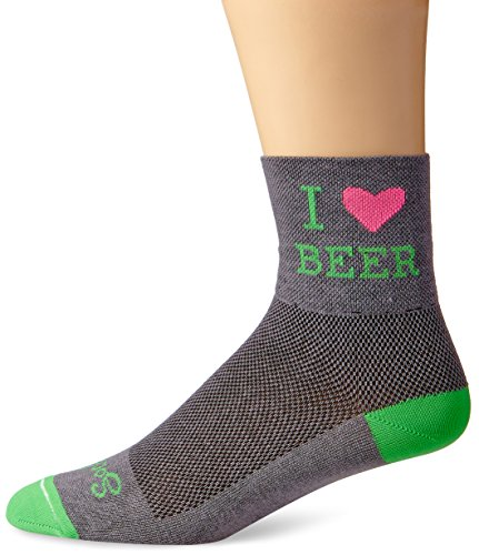 SockGuy Men's Heart Beer Socks, Grey, Sock Size:10-13/Shoe Size: (Sock Guy Running Socks)