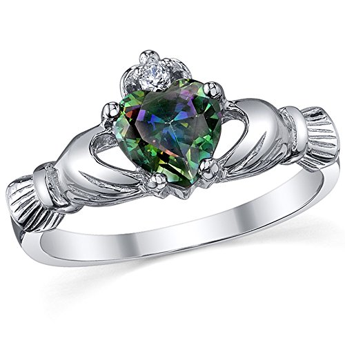 Sterling Silver 925 Irish Claddagh Friendship & Love Mystic Rainbow Simulated Topaz Color Heart Cubic Zirconia Ring -