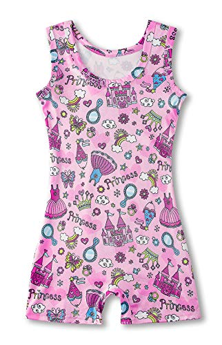 Kids4ever Leotards for Girls Gymnastics Pink Toddler Unitard Sparkly Biketards with Shorts 4T 5 T