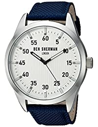 Ben Sherman Men's 'Carnaby Outdoor' Quartz Stainless Steel and Cloth Automatic Watch, Color:Blue (Model: WB031UA)
