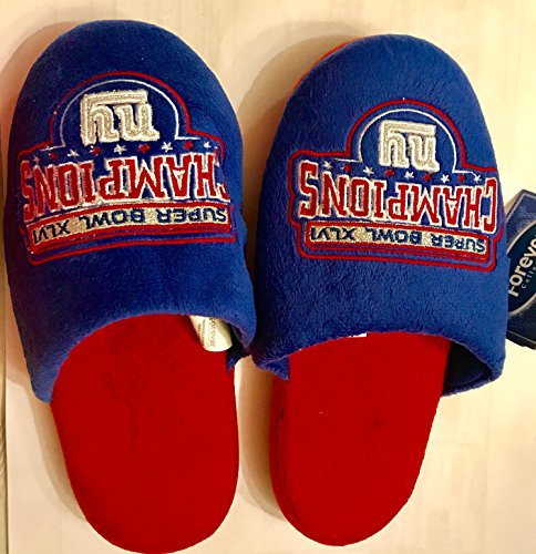 New York Giants Official Super Bowl Champion Glitter Slippers Large Size by For
