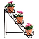 Sorbus 3-Tier Flower Plant Stand - Slanted Flower Pot Holder for Home, Garden, Patio, Plant Lovers, Housewarming, Mother's Day (3 Tier Slanted (Bronze))