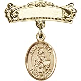 14kt Yellow Gold Baby Badge with St. Giles Charm and Arched Polished Badge Pin 7/8 X 3/4 inches