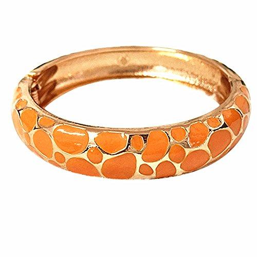 UJOY Indian Enamel Jewelry Gold Plated Bracelet Handmade Circular Colored Spring Wide Cuff Bangle 55C41 Orange