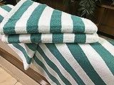 ITC 48 New Large Beach, Resort Pool Towels in Cabana Stripe Green 30x70