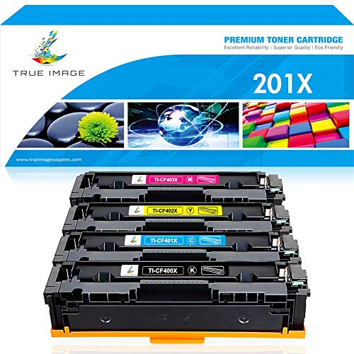 True Image Compatible Toner Cartridge Replacement for HP 201X 201A CF400X CF400A M277dw M252dw Toner HP CF401X CF402X CF403X HP Laserjet MFP M277dw M277c6 M277 M277n Pro M252dw M252n M252 Ink Printer