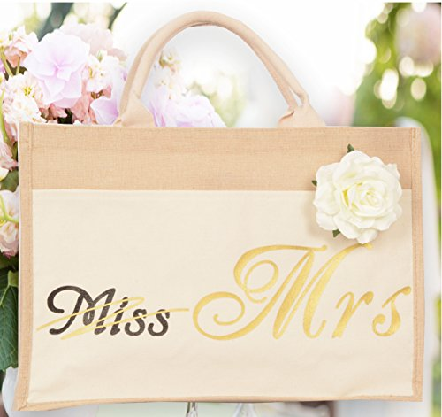 Bride Bag – Miss to Mrs Bag – Bride Tribe Tote- Bride Jumbo Heavy Canvas Tote Wedding Reusable -100% Organic Linen and Cotton, Interior Pocket, Women's Wedding Favors, Bridal Shower Gifts (Miss – Mrs)