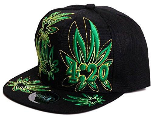 Weed-Marijuana-Leaf-Snapback-Flat-Visor-Hat-Cap-weed-day-letters-One-Size-BlackBlack