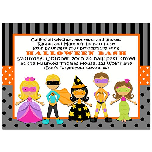 (Halloween Party Invitation - Halloween Invitation - Trick or Treat Collection - You pick Hair Color/Skin Tone)