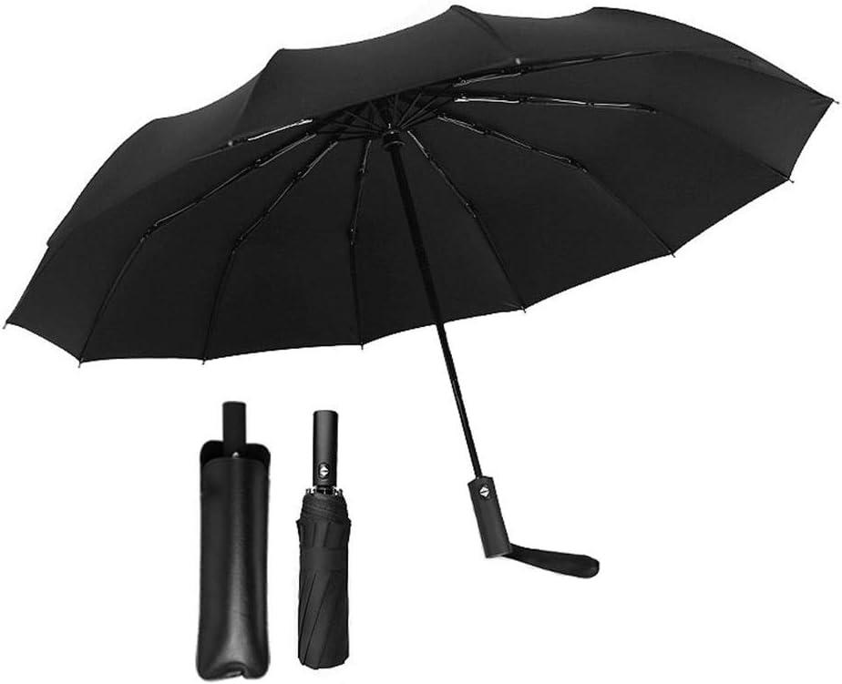 Foonee Parapluie Pliant Ouverture et Fermeture automatiques Marine Super Coupe-Vent et imperm/éable 12 Baleines en Fibre Solide et Tissu de Haute densit/é avec housse de parapluie en cuir