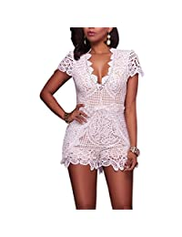 VANCOL Women's Sexy V-Neck Hollow Out Club Beach Shorts Lace Jumpsuit Rompers