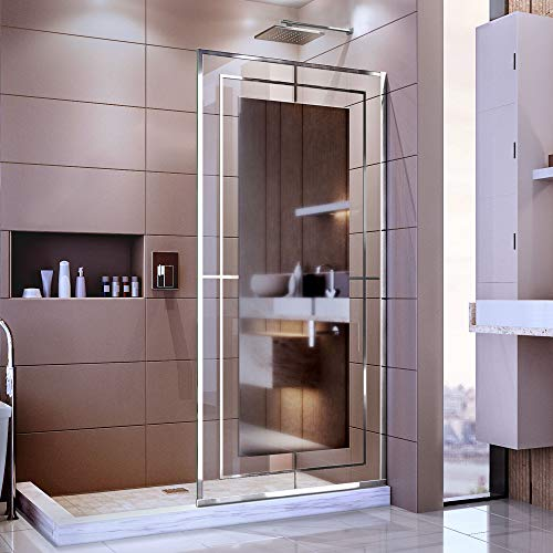 Dreamline D3234721M12-08 Platinum Linea Shower Door, 1 in. D x 34 in. W x 72 in. H, Polished Stainless Steel