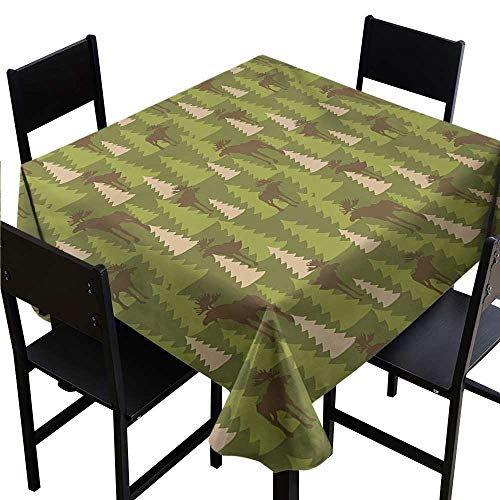 Tablecloth Round Deer,Animals in The Forrest Mooses and Pine Trees Pattern Canada Foliage Mammal Design,Green Tan Brown 50