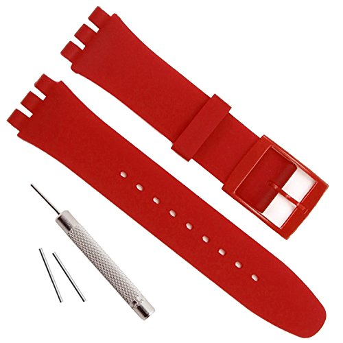 Replacement Waterproof Silicone Rubber Watch Strap Watch Band for Swatch (17mm 19mm 20mm)