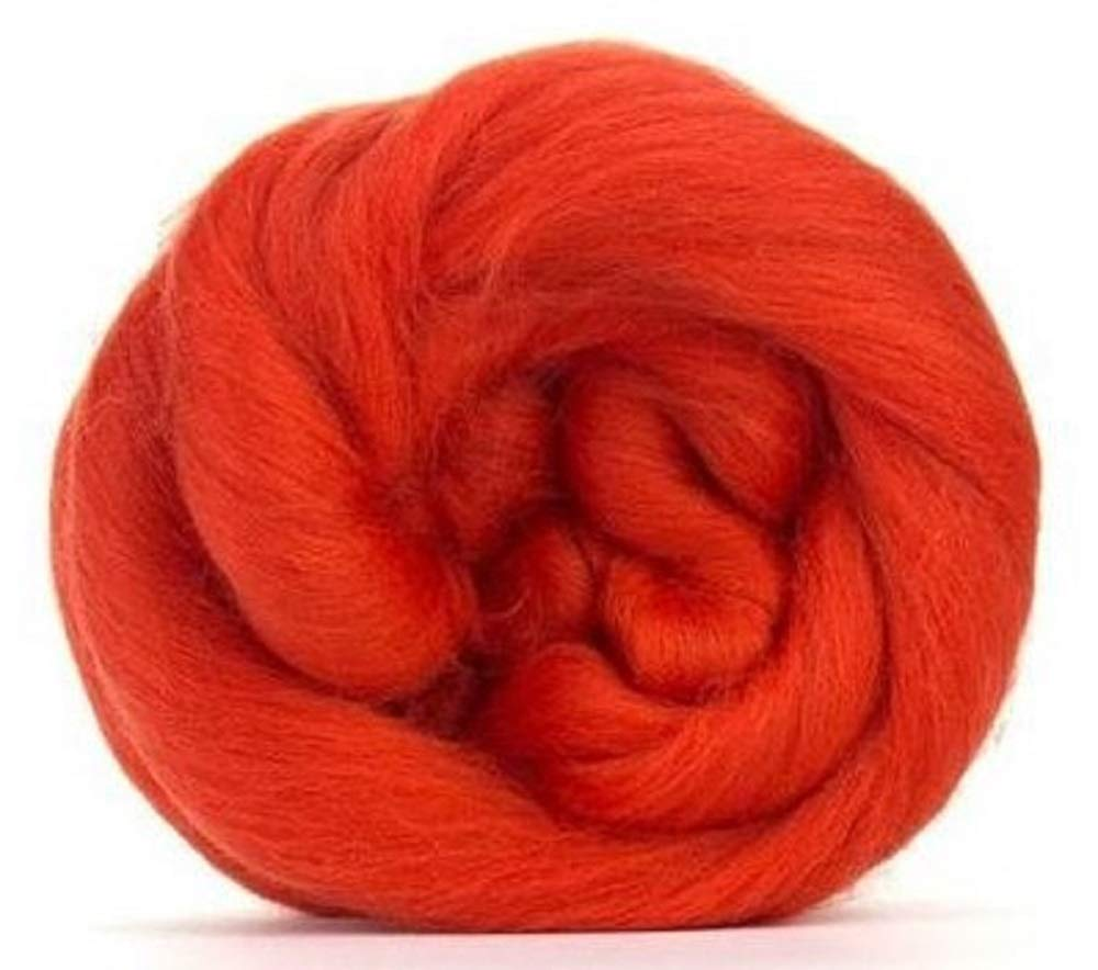 4 oz Paradise Fibers 64 Count Dyed Begonia (Orange) Merino Top Spinning Fiber Luxuriously Soft Wool Top Roving for Spinning with Spindle or Wheel, Felting, Blending and Weaving by Paradise Fibers