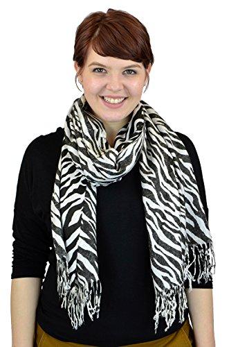 Print Black Silk Dress Zebra (Pashmina Scarves Women Scarf Soft Wrap Shawl Animal Print: Zebra Print Scarves By Belle Donne - Black)