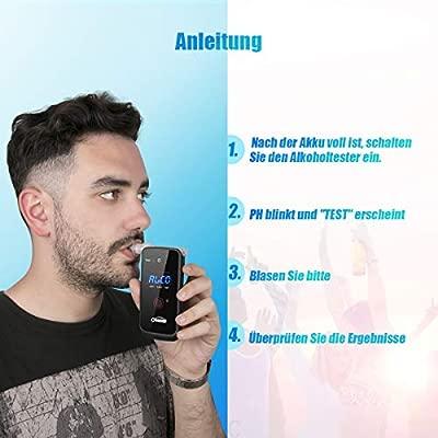 oasser Professioneller Alkoholtester Elektrochemische Sensorik Digitaler Atemalkohol-Tester LED Anzeige Promille-Tester Polizeigenau Alkoholmessger/äte Verpackung MEHRWEG